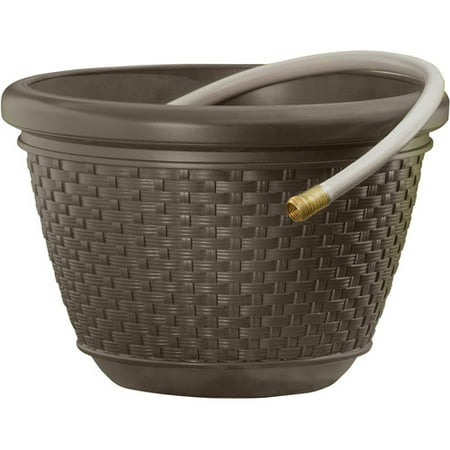 Suncast HPW 100' Resin Wicker Hose Pot - Java