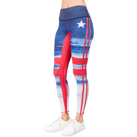 Yelete Women's Stars & Stripes Quality Active Leggings, Red White Blue - Blue And White Striped Leggings