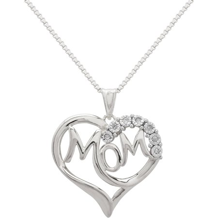 "Diamond Accent Sterling Silver ""Mom"" in Heart Pendant, 18"" Necklace"