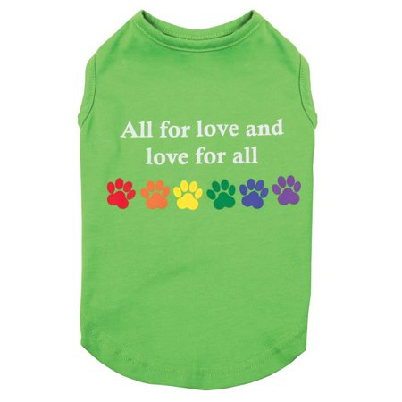Love For All Dog Shirts Green & Rainbow Colorful Pawprints Equality Tank Top (Medium)