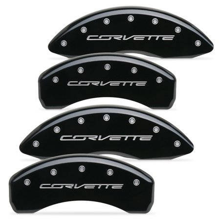 "C7 Corvette Stingray Brake Caliper Cover Set with ""CORVETTE"" Script : Gloss B..."