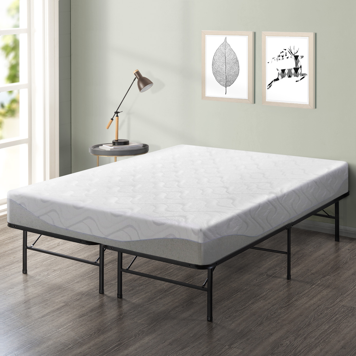 Best Price Mattress 9 Inch Gel-Infused Memory Foam Mattress and Innovative Platform Metal Bed Frame Set