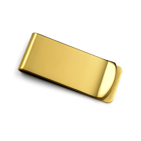 Golf Money Clips - Basic Money Clip For Men Plain Engravable Credit Card Gold Plated Stainless Steel