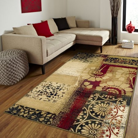 - Superior Floral and Geometric Patchwork Design, 10mm Pile with Jute Backing, Affordable Contemporary Patchwork Collection Area Rug, Multi Color