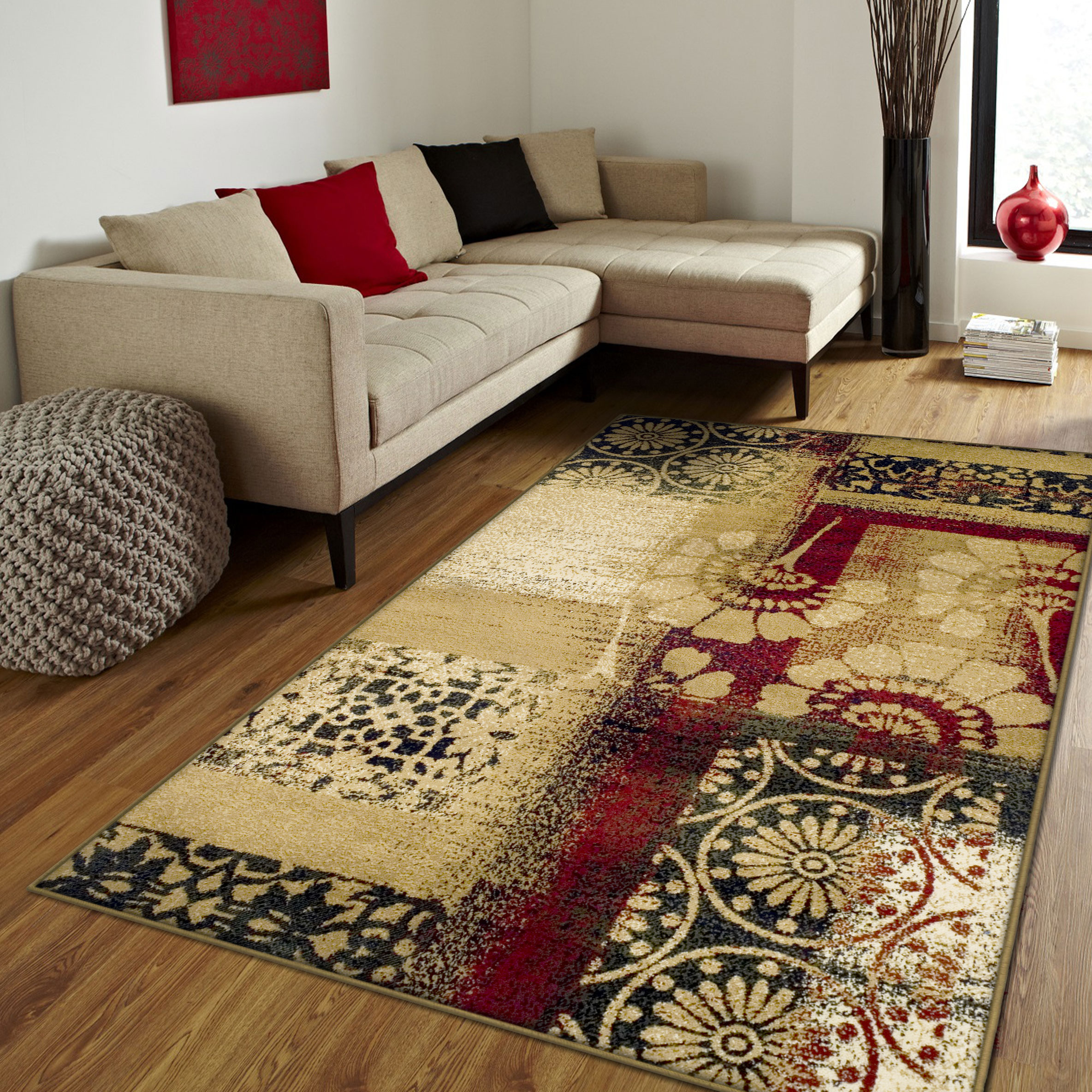 Superior Floral and Geometric Patchwork Design, 10mm Pile with Jute Backing, Affordable Contemporary Patchwork Collection Area Rug, Multi Color