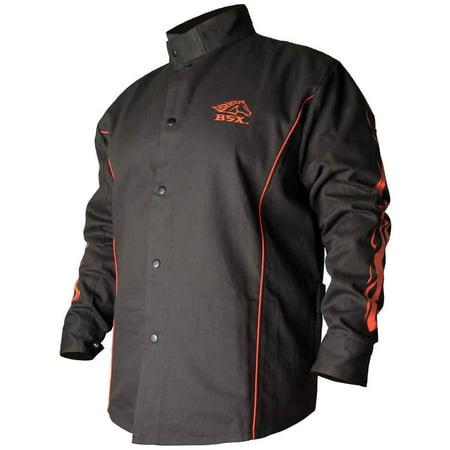 Cotton Welding Jacket - Black Stallion BX9C BSX Contoured FR Cotton Welding Jacket, Black/Flames, MD