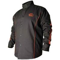 Black Stallion BX9C BSX Contoured FR Cotton Welding Jacket, Black/Flames, LG