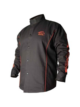 a5fb7af552ae FR Cotton Welding Jacket Black W Red Flames