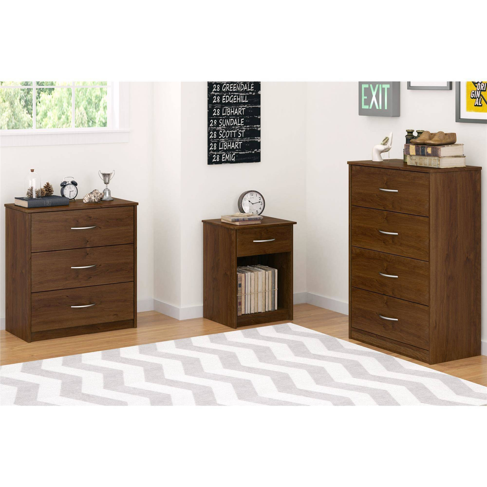 White And Walnut Bedroom Furniture 3 Drawer Dresser Chest Bedroom Furniture Black Brown White Storage