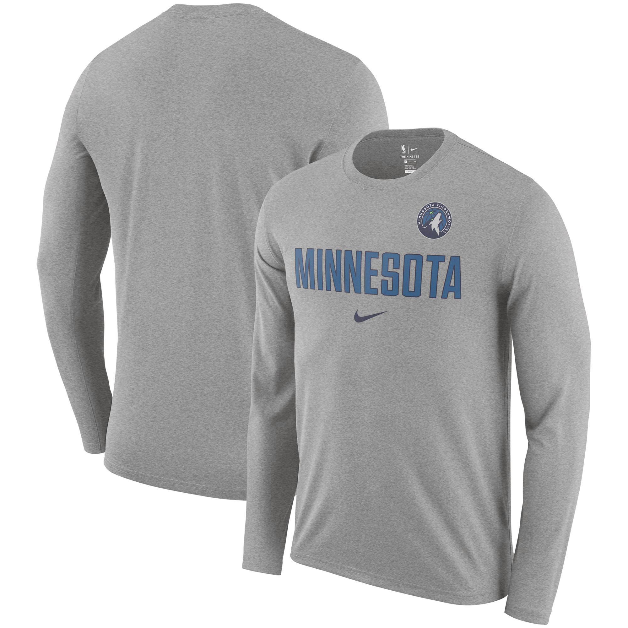 Minnesota Timberwolves Nike Essential Facility Slub Performance Long Sleeve T-Shirt - Heathered Charcoal
