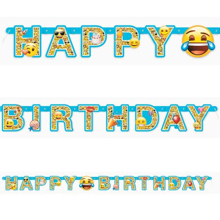 Emoji Large Jointed Banner - Birthday Emojis