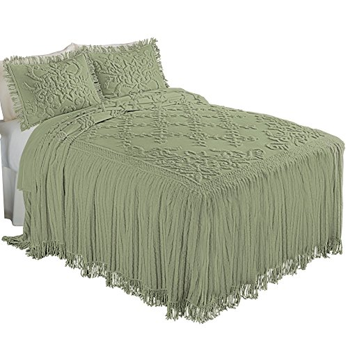 Cottage Charm Floral Lattice Chenille Bedspread Sage Full