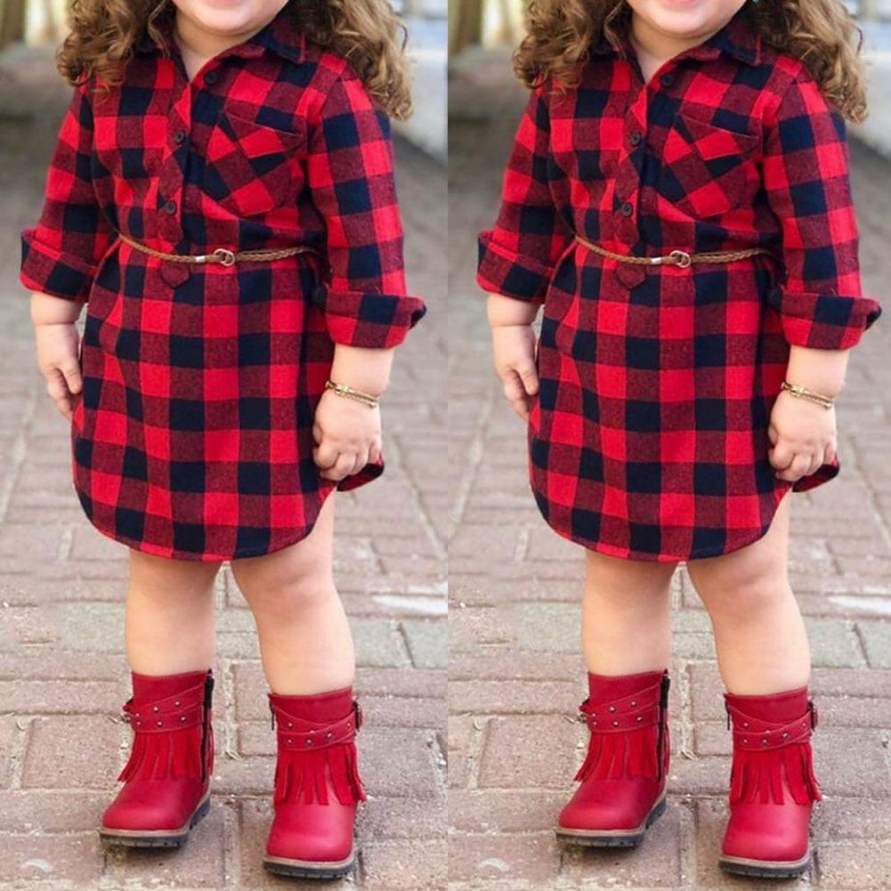 Kids Baby Girl Ruffle Plaid Tops Pants Leggings 2Pcs Outfit Clothes Set