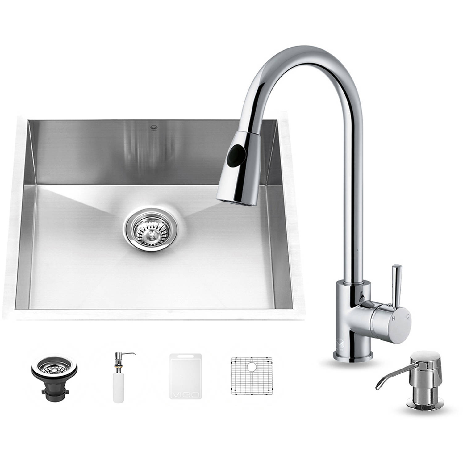 "Vigo All-in-One 23"" Undermount Stainless Steel Kitchen Sink and Chrome Faucet Set"