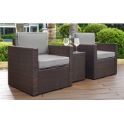 Crosley Furniture KO70055BR-GY Palm Harbor 3-Piece Resin Wicker Outdoor Seating Set (Brown/Grey)