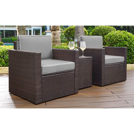 - Crosley Furniture KO70055BR-GY Palm Harbor 3-Piece Resin Wicker Outdoor Seating Set (Brown/Grey)