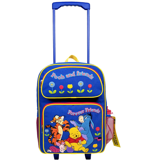 Winnie the Pooh Large Rolling Backpack with Water Bottle #18324-S