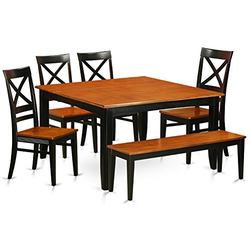 PFQU6-BCH-W 6 PC Dining room set with bench-Dining table with  4 Wooden Dining chairs and One bench