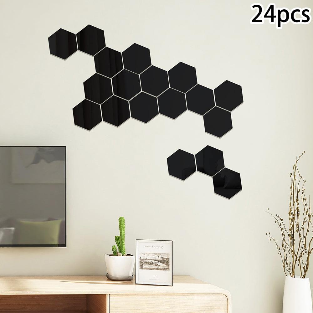 24PCS Acrylic Hexagon 3D Art Mirror Wall Stickers Home DIY ...