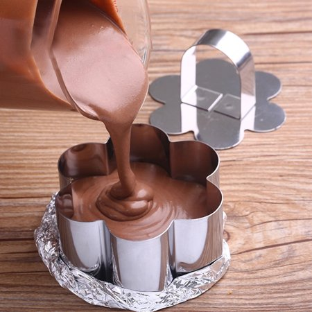 Stainless Steel Small Cake Rings Multiple Moulding Shapes for Choice Mousse Cookies Chocolate Pastry Mini Baking Mold with Pusher Lid Square - image 3 de 7