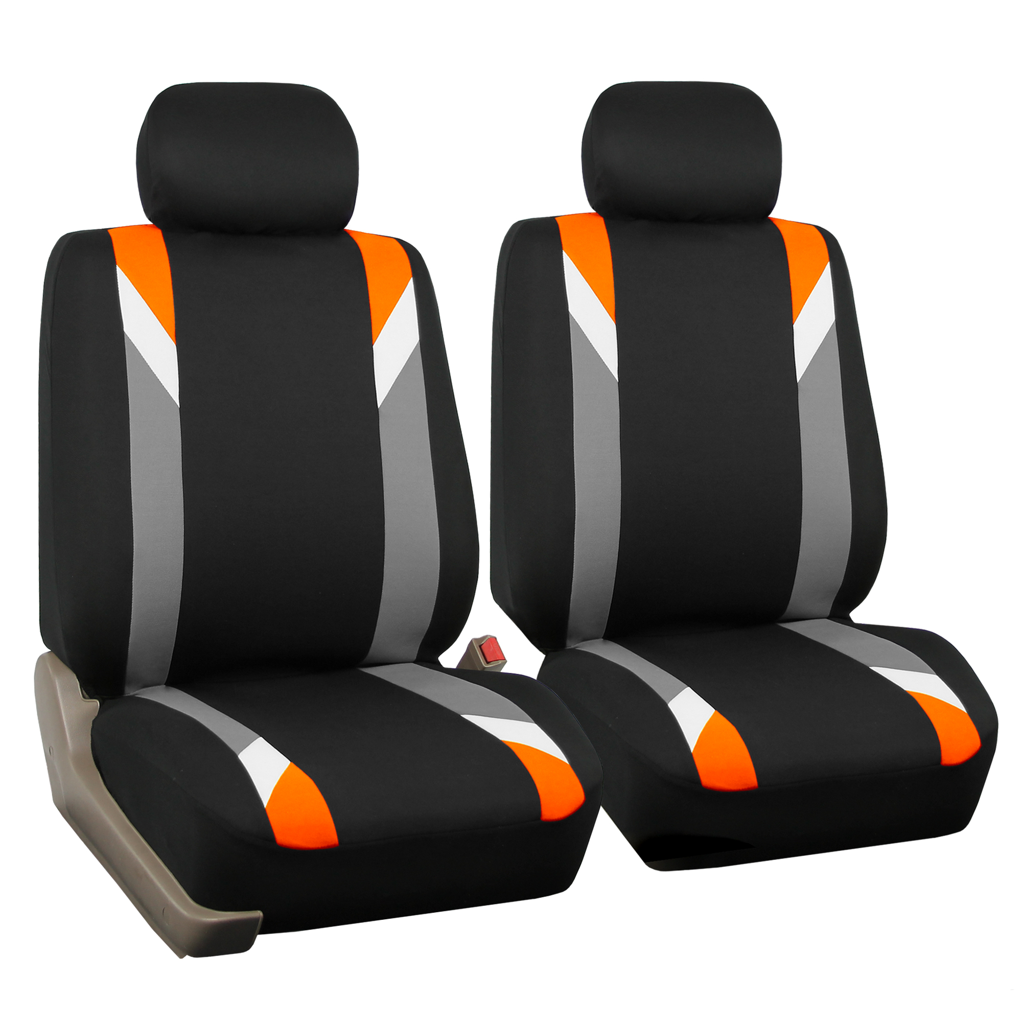 FH Group Premium Modernistic Front Bucket Car Seat Covers for Sedan, SUV, Tuck, Van, Two Front Buckets, Black Orange