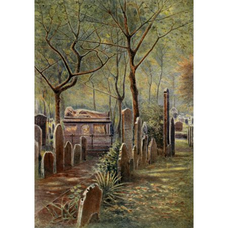 Field Memorial (Relics & Memorials of London 1910 John Bunyans tomb Bunhill Fields Canvas Art - James Ogilvy (24 x)
