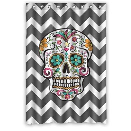 Mohome Design Chevron Sugar Skull Shower Curtain Waterproof