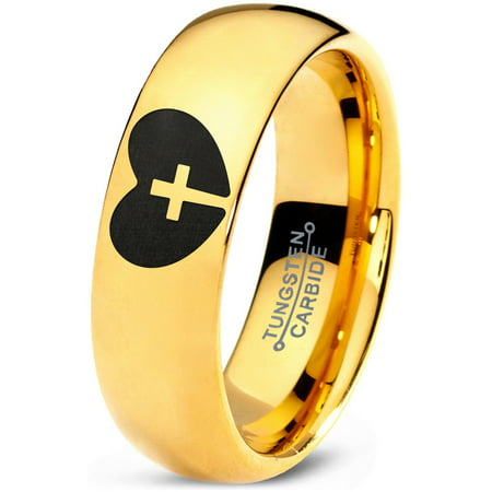 Tungsten Religious Cross Heart Love Band Ring 7mm Men Women Comfort Fit 18k Yellow Gold Dome - Band Heart Cross