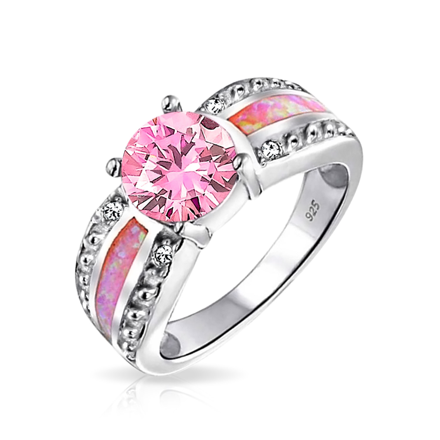 bling jewelry pink synthetic opal inlay october birthstone