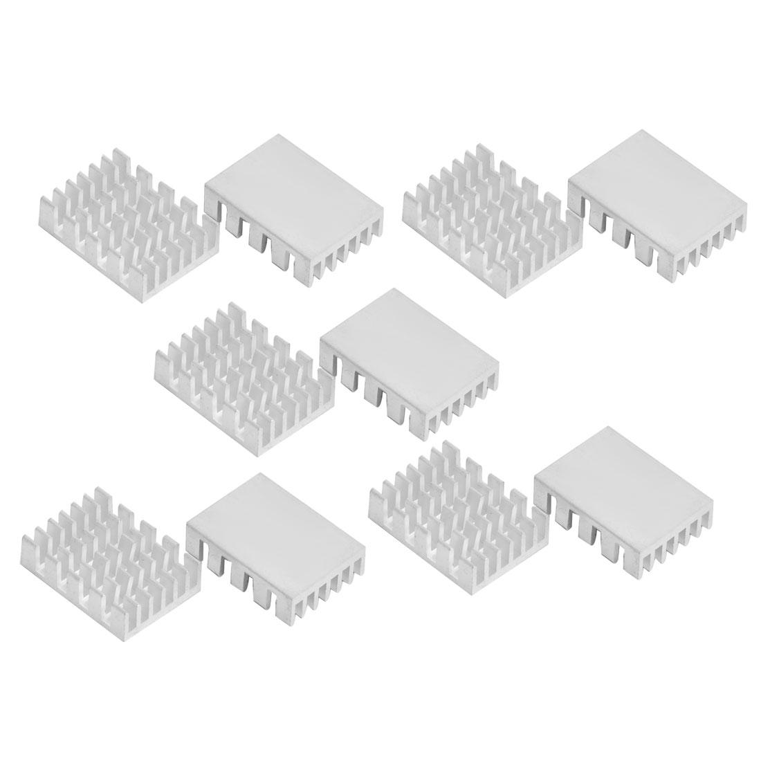 Aluminium Heatsink Cooling Fin Cooler Silver Tone 20mm x 14mm x 6mm 10 Pcs - image 2 of 2