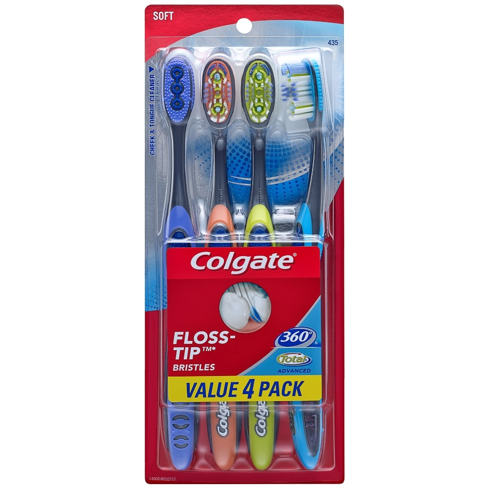 Colgate 360 Total Advanced Floss-Tip Slim Toothbrush, Soft, 4 Count