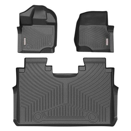 F150 Floor Mats Liners SuperCrew Cab Compatible for 2015-2019 Ford f150- Unique Black TPE All-Weather Guard, Includes 1st & 2nd Front Row and Rear Floor Liner Full (Best Floor Mats For F150 Supercrew)