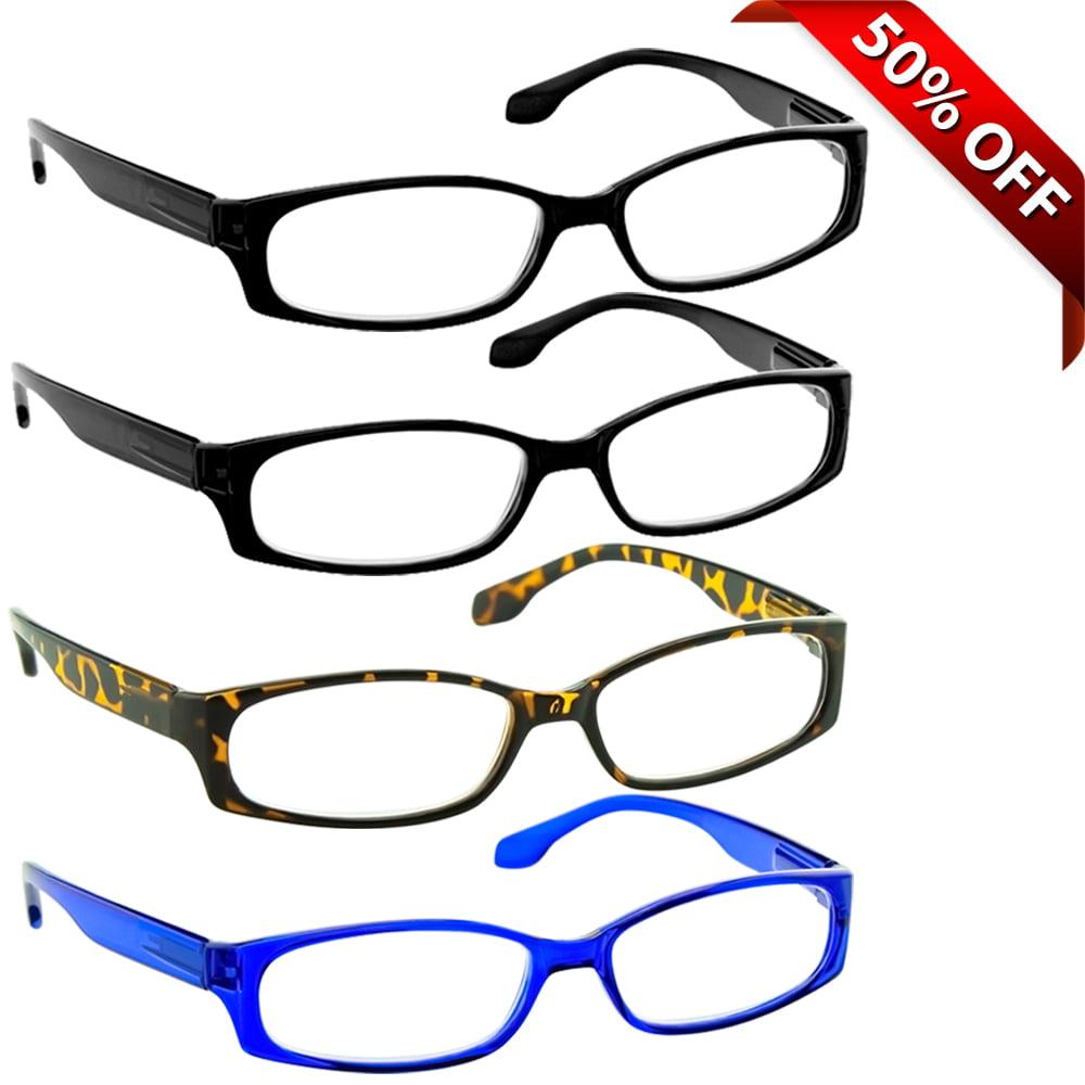 Reading Glasses +1.50 | 4 Pack of Readers for Men and Women | 2 Black Tortoise Blue