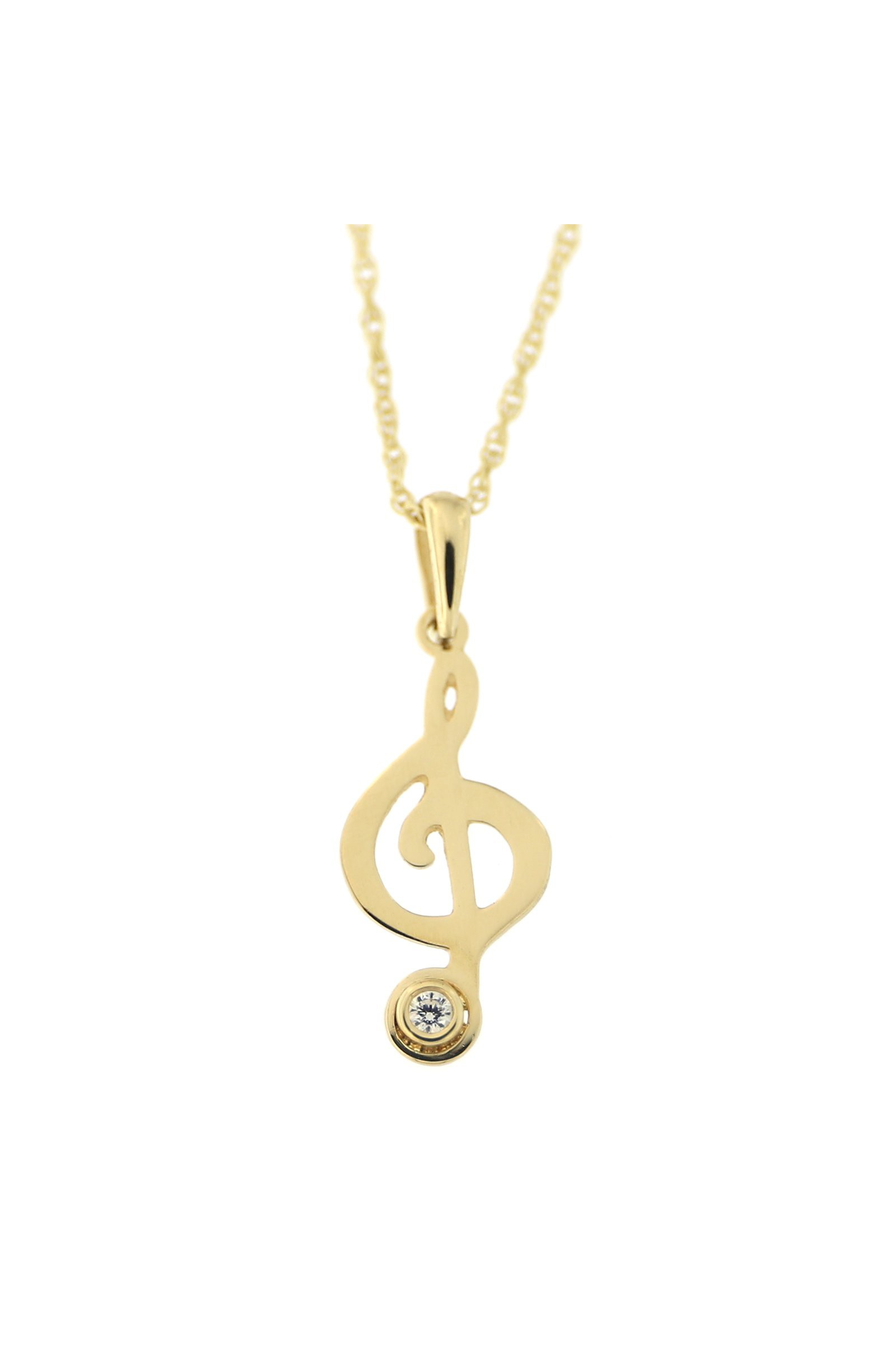 Diamond Alternatives Treble Clef Note Music Pendant Necklace White 14k over Base