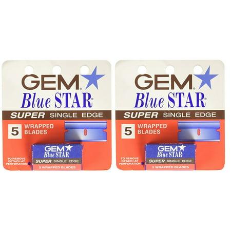 GEM Blue Star Super Single Edge, 5 Ct. (Pack of 2) + Yes to Tomatoes Moisturizing Single Use -