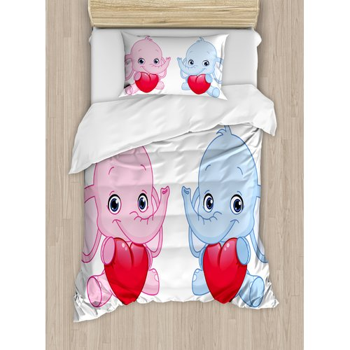 Ambesonne Elephant Nursery Kid Infant Elephants Holding Hearts Smiling Twins Duvet Set