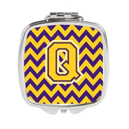Carolines Treasures CJ1041-QSCM Letter Q Chevron Purple & Gold Compact Mirror, 3 x 0.3 x 2.75 in. Purple Compact Mirror