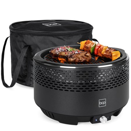 Best Choice Products 13.75in Portable Outdoor Smokeless Non-Stick Cast Iron Charcoal BBQ Grill Cooker for Backyard, Camping, Picnics w/ Electric Turbo Fan, Travel Bag, Dishwasher-Safe Body