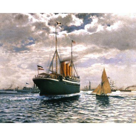 Immigrant Ship 1893 Ngerman Steamer Furst Bismarck At Entrance To New York Harbor Oil 1893 By Themistocles V Eckenbrecher Rolled Canvas Art -  (24 x 36)