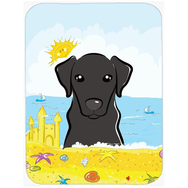 Black Labrador Summer Beach Mouse Pad, Hot Pad or Trivet