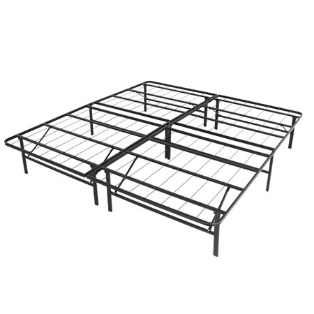 Best Choice Products Dual-Purpose Queen Sized Foldable Metal Platform Bed Frame Mattress Foundation, No Box Spring Needed, Splits Into 2 Twin Sized Frames - Black