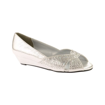 Touch Ups Womens Alice Wedge Pump, Silver, 10 M (Touch Ups Satin Pumps)