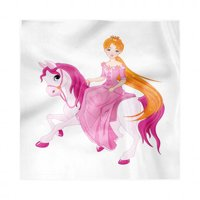Pony Napkins Set of 4, Princess Sitting on a Horse with Pinkish Mane Childish Fairytale Scene, Silky Satin Fabric for Brunch Dinner Buffet Party, by Ambesonne