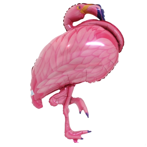 "XL 27"" Pink Flamingo Super Shape Mylar Foil Balloon Hawaiian Luau Party"