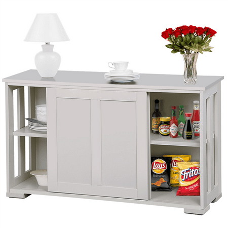 Yaheetech Sideboard Buffet with Sliding Door, Antique White