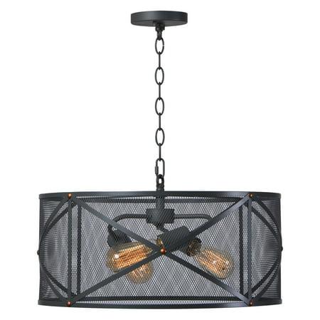 Black Three Light Foyer Pendant (Kenroy Home Alfred Black with Brass Rivets 3 Light Pendant )