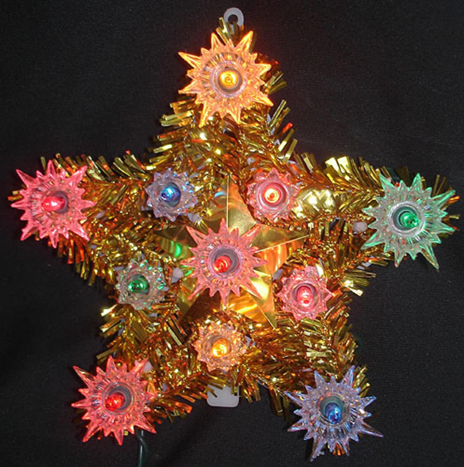 "6"" Lighted Gold Tinsel Star Christmas Tree Topper - Multi Lights"