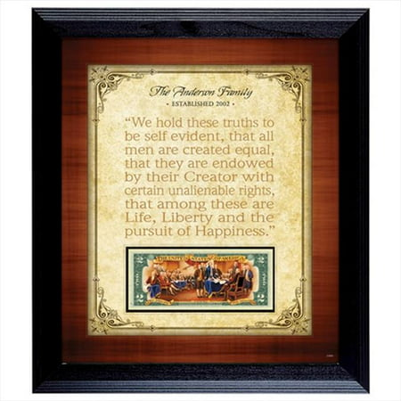 Image of American Coin Treasures 11894 Personalized Established Family Declaration 2 Dollar Frame