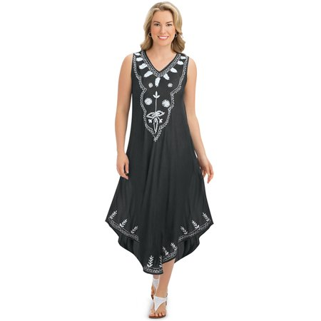 Women's Embroidered Easy Fit Woven Sleeveless Dress with Flattering V-Neckline - Cute Seasonal Outfit, Medium/Large, Black Multi](Easy Hippie Outfit)