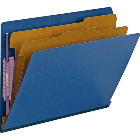 Smead End Tab Pressboard Classification Folder with SafeSHIELD® Fasteners, 2 Dividers, Dark Blue, 10 per Box (26784)